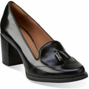 Clarks Artisan Black Tassel Loafer Block Heel